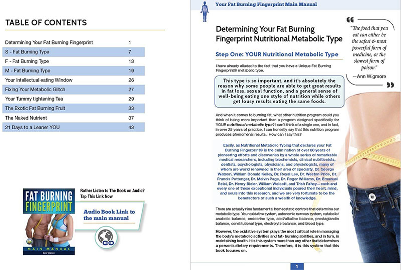 fat burning fingerprint table